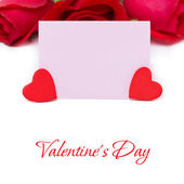 Pink card for greetings, red hearts and roses, isolated — Stock Photo