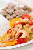 Rice, chicken and vegetables with shrimp, close-up — Stock Photo