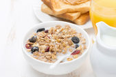 Muesli with milk and dried fruit, toast with peanut butter — Stock Photo