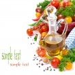 Decanter with olive oil, assorted of cherry tomatoes and spices — Stock Photo #39316859