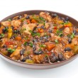 Stew with black beans, chili, chicken and vegetables, isolated — Stock Photo