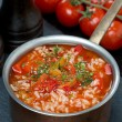 Spicy tomato soup with rice, vegetables and herbs in a saucepan — Stock Photo