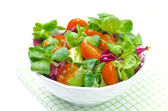 Fresh salad and cherry tomatoes in a bowl, isolated — Stock Photo