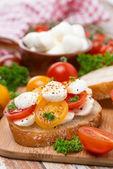 Piece of ciabatta with mozzarella and colorful cherry tomatoes — Stock Photo
