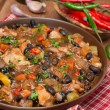 Chili with black beans, chicken and vegetables, vertical — Stock Photo