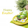 Festive Easter table setting with decorations, isolated — Stock Photo #40216649