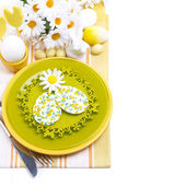 Festive Easter table setting with decorative ornaments, top view — Stock Photo