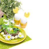 Festive Easter table setting, isolated — Foto Stock