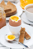 Fresh breakfast with eggs, toast and coffee — Stock Photo