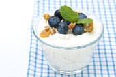 Homemade yogurt with blueberries and muesli in a glass, isolated — Stock Photo