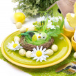 Festive Easter table setting with decorations and flowers — Stock Photo #40472829
