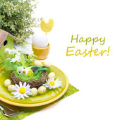 Festive Easter table setting with decorations, egg and flowers — Stock Photo