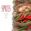 Stock Photo: Chili, close-up, garlic and dried peppers, isolated