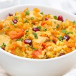 Rice with vegetables, chicken and pomegranate, close-up — Stock Photo