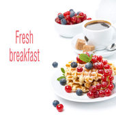 Breakfast with Belgian waffle, berries and freshly brewed coffee — Stock Photo