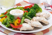 Chicken fillet, steamed vegetables and yoghurt sauce, close-up — Photo