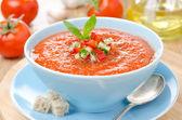 Pomidor zimne zupy gazpacho z bazylią i grzankami w misce — Zdjęcie stockowe