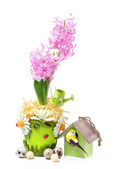 Composition with pink hyacinth, birdhouse and eggs for Easter — Foto de Stock