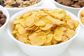 Cornflakes and breakfast cereals, close-up — Foto de Stock