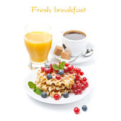 Delicious breakfast with waffles and fresh berries, isolated — Stock Photo
