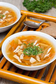 Vegetable soup with chicken and greens — Stock Photo