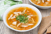 Vegetable soup with chicken, top view — Stock Photo