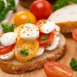 Ciabatta with mozzarella and colorful cherry tomatoes — Stock Photo #42857025