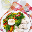 Dietetic food - chicken, steamed vegetables and yoghurt sauce — Stock Photo #42857185