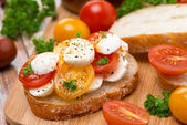 Ciabatta with mozzarella and colorful cherry tomatoes — Stock Photo