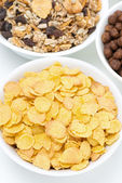 Cornflakes and breakfast cereals, top view — ストック写真