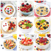 Breakfast with muesli and berries, collage of nine photos — Stock Photo