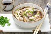 Chinese soup with chicken, shiitake mushrooms and green onions — Stock Photo