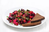 Russian vegetable salad with beetroot - vinaigrette — Stock Photo