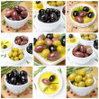 Different kinds of olives, spices and olive oil, collage — Stock Photo #43741465