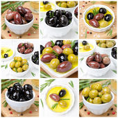 Different kinds of olives, spices and olive oil, collage — Stock Photo