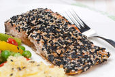 Pink salmon fillet in sesame breaded, close-up — Stock Photo