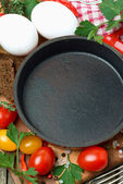 Concept photo - ingredients for cooking fried eggs, top view — Stock Photo