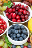 Fresh blueberries, berries and fruits, top view — Stock Photo