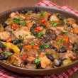 Stew with black beans, chili, chicken and vegetables, close-up — Stock Photo