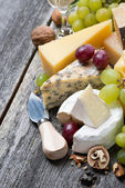 Assortment of fresh cheeses, grapes and walnuts — Stock Photo