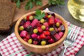 Russian beetroot salad vinaigrette, top view — Stock Photo