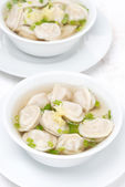 Chicken broth with Chinese dumplings, top view — Stock Photo