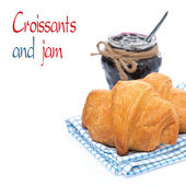 Fresh croissants and berry jam, isolated — Stock Photo