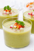Green soup with fresh vegetables, close-up — Stock Photo