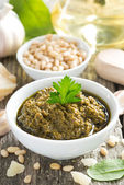 Pesto sauce in a bowl, top view — Stock Photo