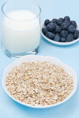 Oat flakes, fresh blueberries and milk for breakfast — Stock Photo