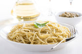 Pasta spaghetti with pesto on a plate, selective focus — Stock Photo
