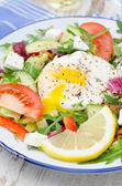 Vegetable salad with poached egg, vertical, closeup — Stock Photo