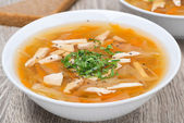 Vegetable soup with chicken, close-up — Stock Photo
