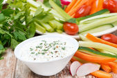 Yoghurt sauce with mustard for fresh vegetables — Stock Photo